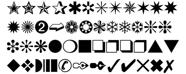 Contoh Jenis Font Dingbat