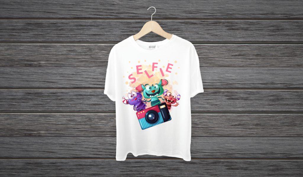 Desain Baju Kaos Keren Monster karakter Komik