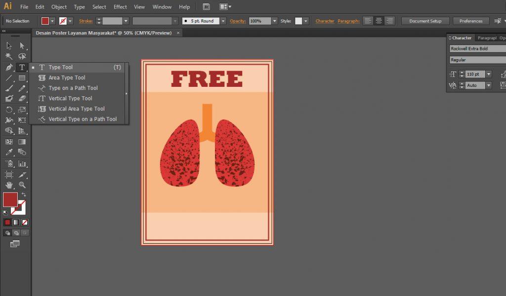 Menambahkan Text Pada Bagian Bawah Desain Poster Layanan Masyarakat