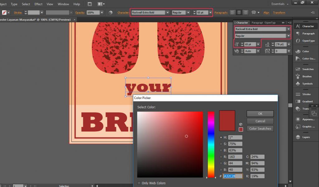 Pemilihan Warna Font Sehinga Desain Poster Menarik